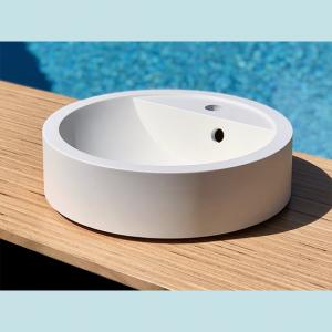 Vasque salle de bain à poser ronde Acajou blanche en marbre et résine - image principale