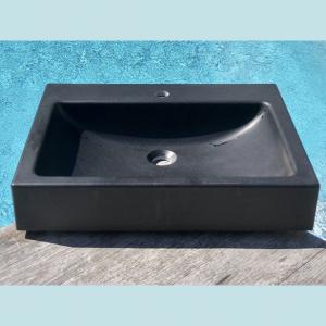 Vasque salle de bain à poser rectangulaire Balsa noire en marbre et résine - image principale