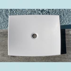 Vasque salle de bain à poser rectangulaire Charme blanche en marbre et résine - image principale