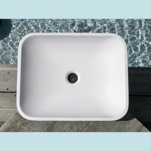 Vasque salle de bain à poser rectangulaire Frene blanche en marbre et résine - image principale