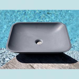 Vasque salle de bain à poser rectangulaire Frene grise en marbre et résine - image principale