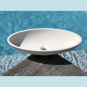 Vasque salle de bain à poser ovale Noyer blanche en marbre et résine - image principale