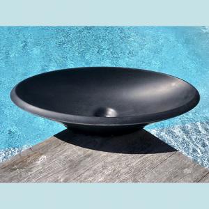 Vasque salle de bain à poser ovale Noyer noire en marbre et résine - image principale