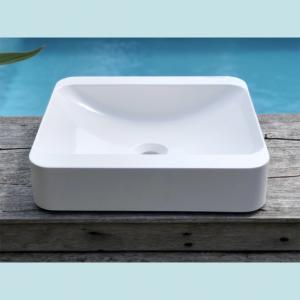 Vasque salle de bain à poser rectangulaire Peuplier blanche en marbre et résine - image principale