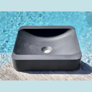 Vasque salle de bain à poser rectangulaire Peuplier noire en marbre et résine - image principale