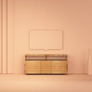 meuble buffet TV octavie 120 cm en bois de hêtre multiligne de type baubuche et valchromat noir