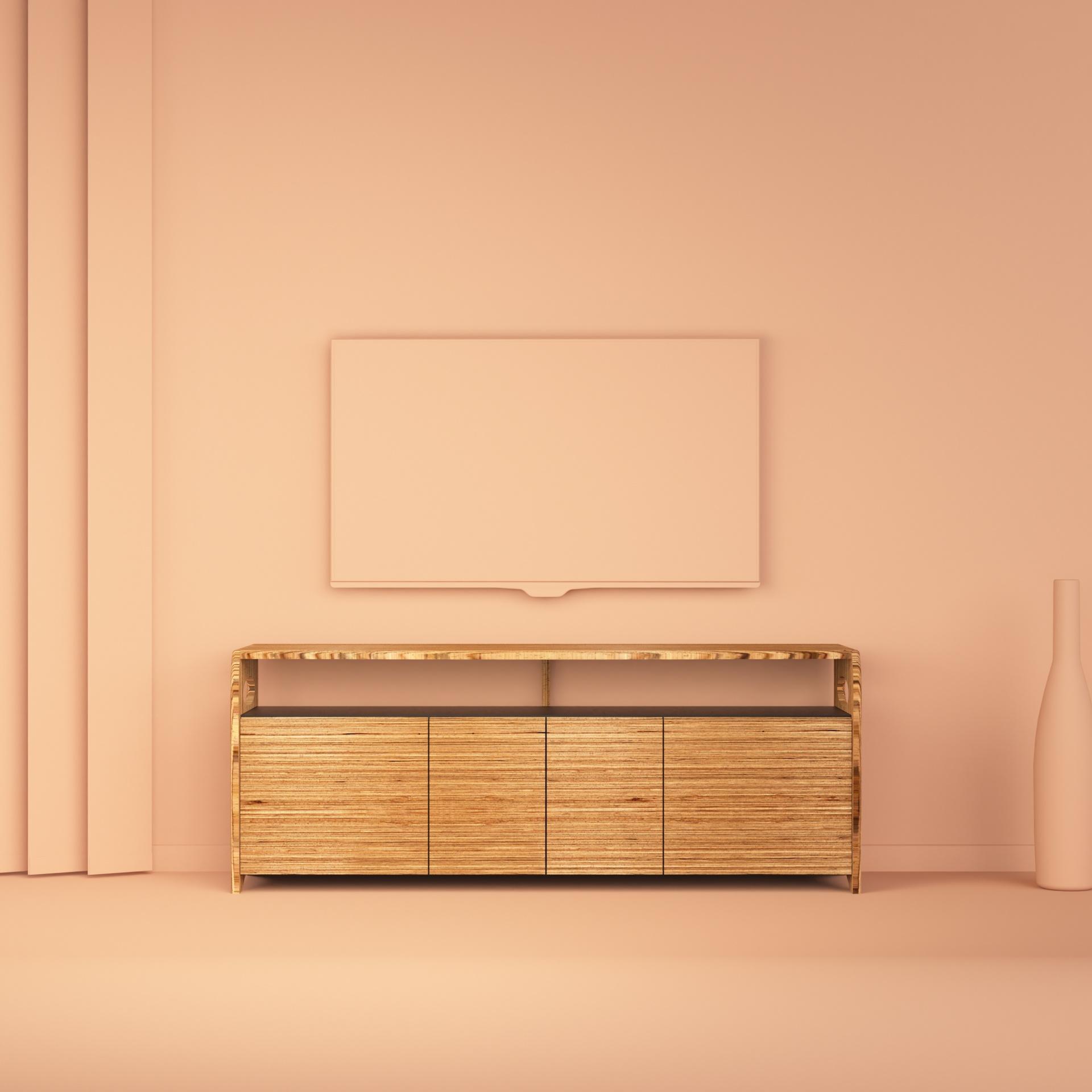 meuble buffet TV octavie 145 cm en bois de hêtre multiligne de type baubuche et valchromat noir