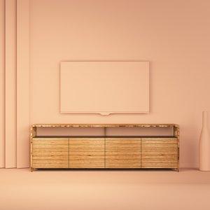 meuble buffet TV octavie 180 cm en bois de hêtre multiligne de type baubuche et valchromat noir