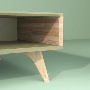 Table basse en chene 90 cm par 90 cm Bernadette mobilier néo vintage