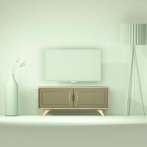petit meuble design en chene massif et valchromat kaki de 120 cm