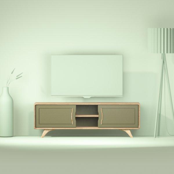 grand meuble kaki tv design en chene Bernadette 150 cm
