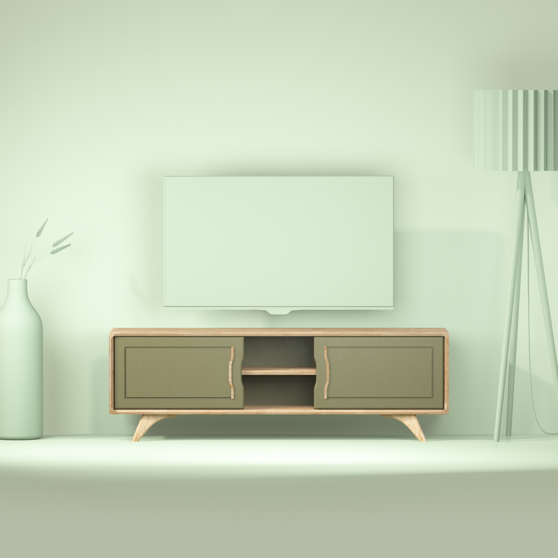 meuble TV vue de face avec ambiance salon