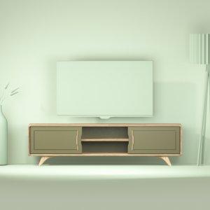 grand meuble TV kaki design en chene Bernadette 180 cm