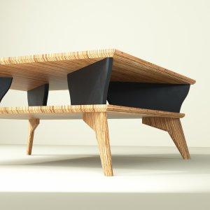 Yvette table basse en bois noir et design contemporain