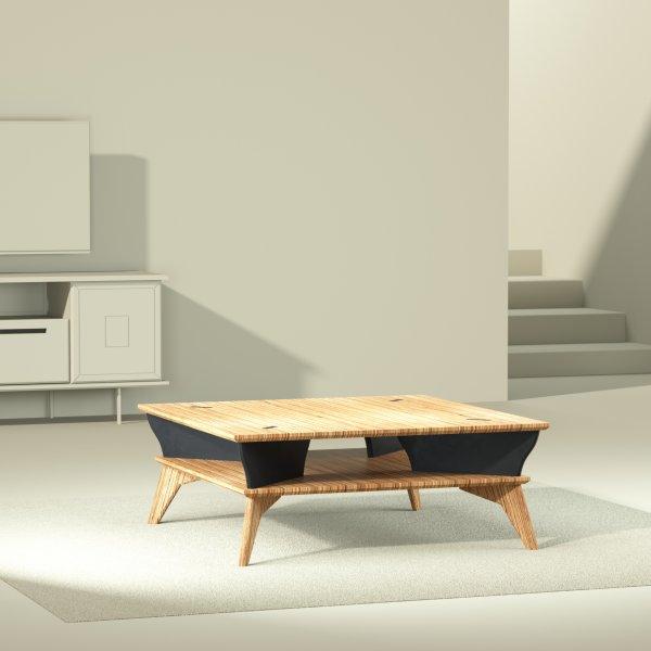 Yvette table basse noir design et éthique 90 par 90 cm