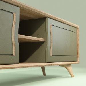 zoom sur poignée de meuble télé design scandinave 150 cm Bernadette