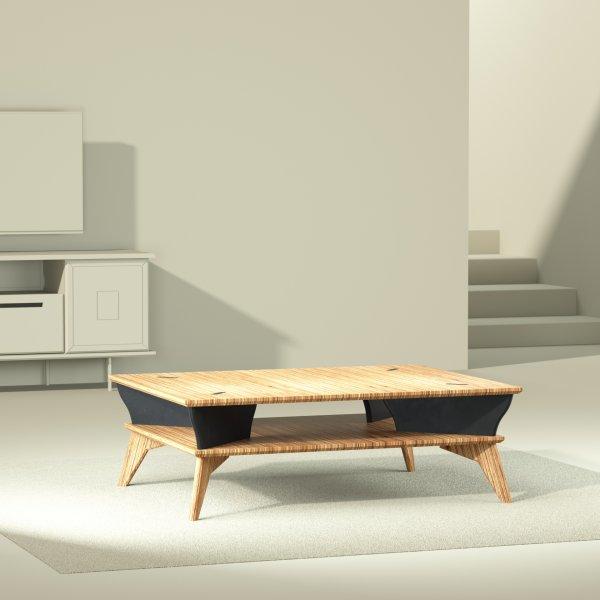 yvette table basse noir design made in france 105 par 80 cm